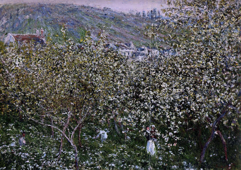 Claude Oscar Monet Vetheuil, Flowering Plum Trees - Hand Painted Oil Painting