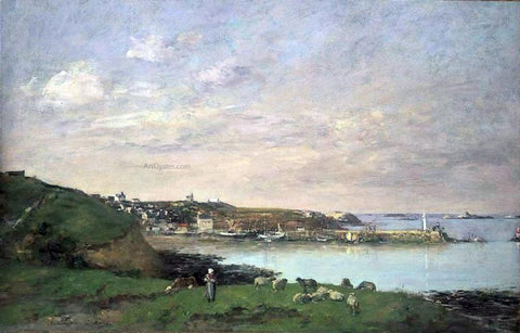 Eugene-Louis Boudin View at Saint-Quay-Portriaux - Hand Painted Oil Painting