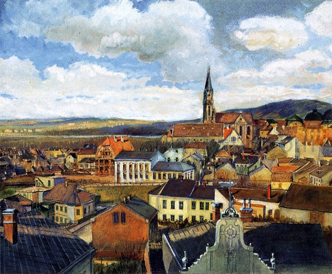 Egon Schiele View from the Drawing Classroom, Klosterneuburg - Hand Painted Oil Painting