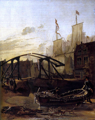 Adam Pynacker View of a Harbour in Schiedam - Hand Painted Oil Painting