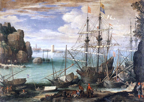 Paul Bril View of a Port - Hand Painted Oil Painting