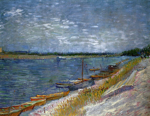 Vincent Van Gogh View of a River with Rowing Boats - Hand Painted Oil Painting