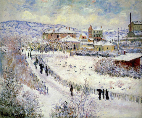 Claude Oscar Monet View of Argenteuil in the Snow - Hand Painted Oil Painting