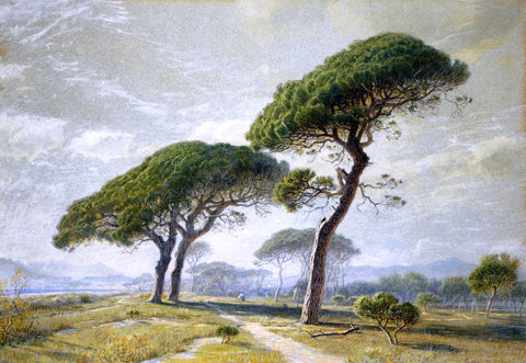 William Stanley Haseltine View of Cannes with Parasol Pines - Hand Painted Oil Painting