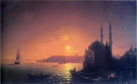 Ivan Constantinovich Aivazovsky View of Constantinople by Moonlight - Hand Painted Oil Painting