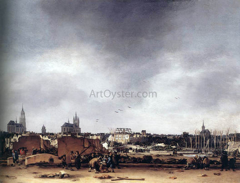Egbert Van der Poel View of Delft after the Explosion of 1654 - Hand Painted Oil Painting