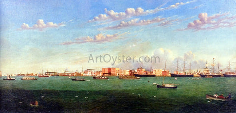 William Aiken Walker View of Galveston Harbor - Hand Painted Oil Painting