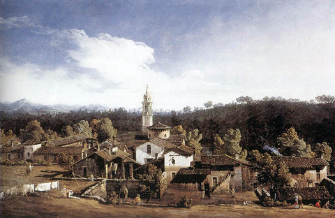 Bernardo Bellotto View of Gazzada near Varese - Hand Painted Oil Painting