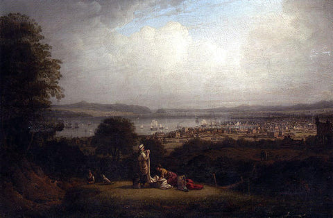 Robert Salmon View of Greenock, Scotland, and the Bay of St. Lawrence - Hand Painted Oil Painting