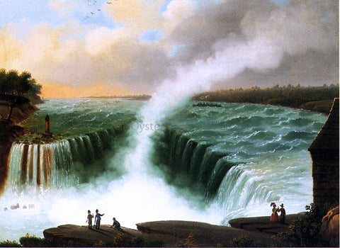 Nicolino Calyo View of Niagara Falls - Hand Painted Oil Painting