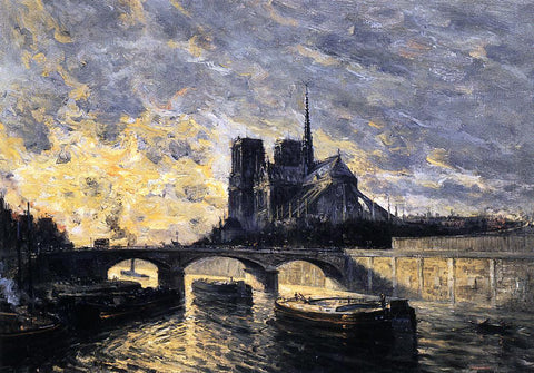 Frank Myers Boggs View of Notre Dame - Hand Painted Oil Painting