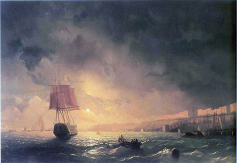 Ivan Constantinovich Aivazovsky View of Odessa by Moonlight - Hand Painted Oil Painting
