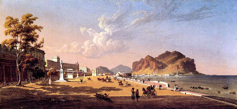Robert Salmon View of Palermo - Hand Painted Oil Painting