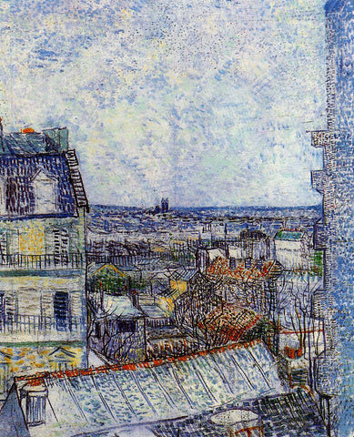 Vincent Van Gogh View of Paris from Vincents Room in the Rue Lepic - Hand Painted Oil Painting