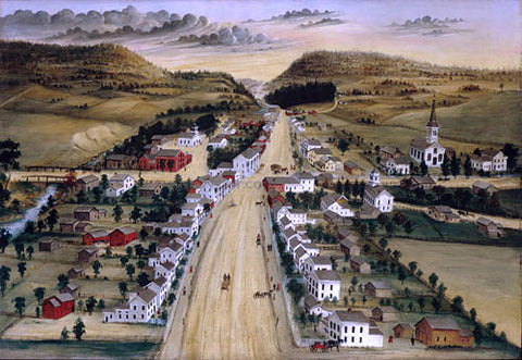 Joseph H Hidley View of Poestenkill, New York - Hand Painted Oil Painting