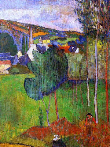 Paul Gauguin View of Pont-Aven from Lezaven - Hand Painted Oil Painting