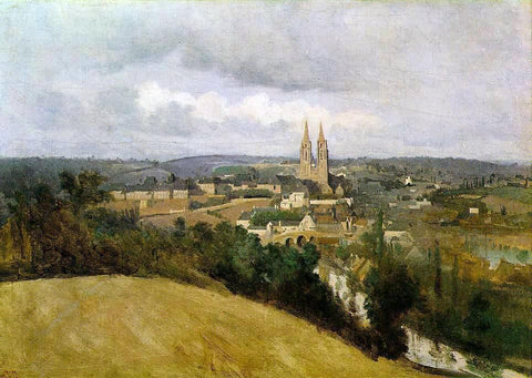Jean-Baptiste-Camille Corot View of Saint Lo with the River Vire in the Foreground - Hand Painted Oil Painting