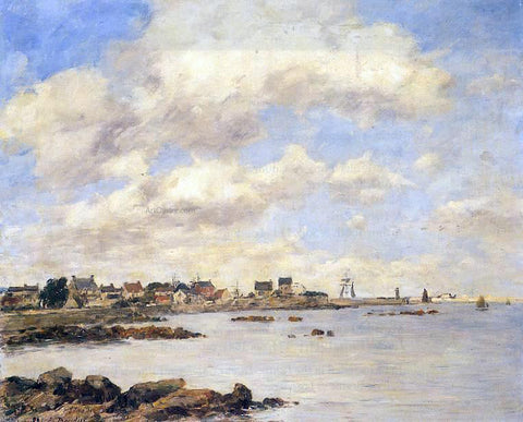 Eugene-Louis Boudin View of Saint-Vaast-La-Houghe - Hand Painted Oil Painting