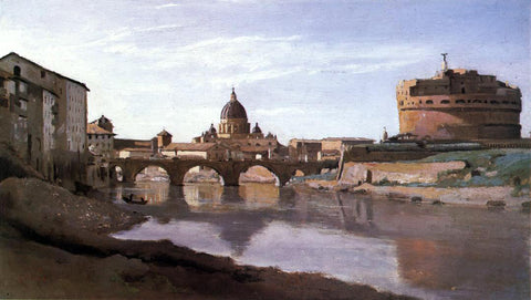 Jean-Baptiste-Camille Corot View of St. Peter's and the Castel Sant'Angelo - Hand Painted Oil Painting