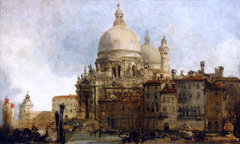 David Roberts View of the Church of Santa Maria della Salute, on the Grand Canal, Venice, with the Dogana Beyond - Hand Painted Oil Painting