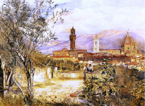 Henry Roderick Newman View of the Duomo fro the Mozzi Garden, Florence - Hand Painted Oil Painting