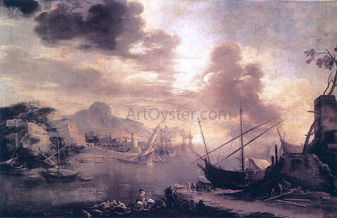 Salvator Rosa View of the Gulf of Salerno - Hand Painted Oil Painting