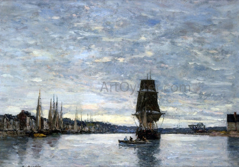Eugene-Louis Boudin View of the Harbor at Trouville - Hand Painted Oil Painting