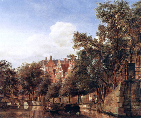 Jan Van der Heyden View of the Herengracht, Amsterdam - Hand Painted Oil Painting