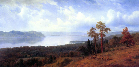 Albert Bierstadt View of the Hudson Looking Across the Tappan Zee Towards Hook Mountain - Hand Painted Oil Painting