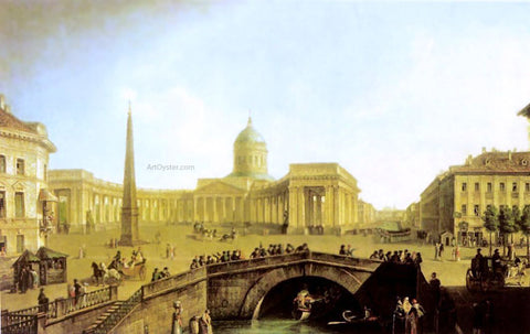 Fedor Yakovlevich Alekseev View of the Kazan Cathedral in St. Petersburg - Hand Painted Oil Painting