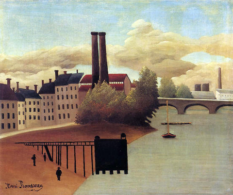 Henri Rousseau View of the Outskirts of Paris - Hand Painted Oil Painting
