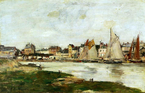 Eugene-Louis Boudin View of the Port of Trouville, High Tide - Hand Painted Oil Painting