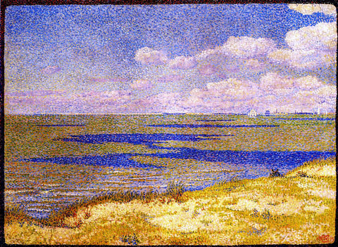 Theo Van Rysselberghe View of the River Scheldt - Hand Painted Oil Painting