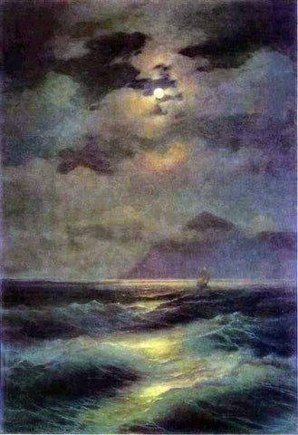 Ivan Constantinovich Aivazovsky View of the Sea by Moonlight - Hand Painted Oil Painting