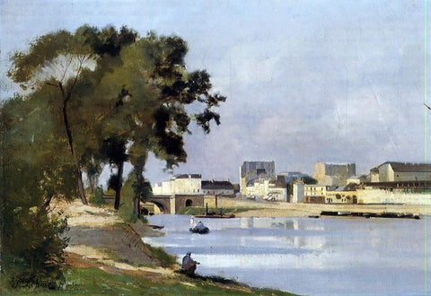 Stanislas Lepine View of the Seine - Hand Painted Oil Painting