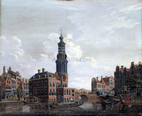 Isaak Ouwater View of the Singel with the Munttoren in Amsterdam - Hand Painted Oil Painting