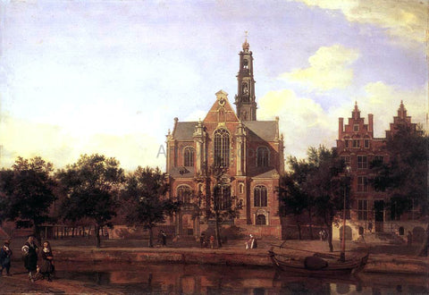 Jan Van der Heyden View of the Westerkerk, Amsterdam - Hand Painted Oil Painting