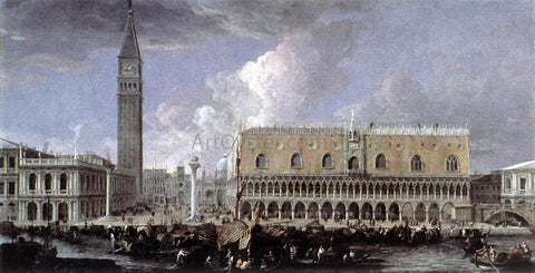 Luca Carlevaris View of the Wharf from the Bacino di San Marco - Hand Painted Oil Painting