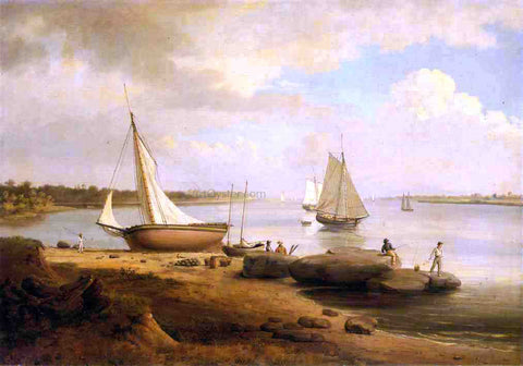 Thomas Birch View on the Delaware - Hand Painted Oil Painting