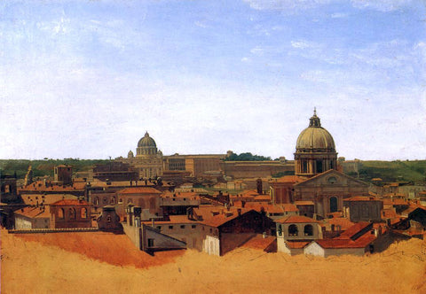 Adolf Von Heydeck View over the Rooftops of Rome - Hand Painted Oil Painting