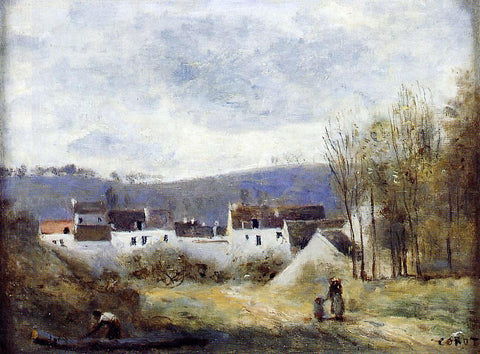Jean-Baptiste-Camille Corot Village at the Foot of a Hill, Ile-de-France - Hand Painted Oil Painting