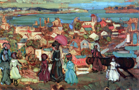 Maurice Prendergast Village by the Sea - Hand Painted Oil Painting