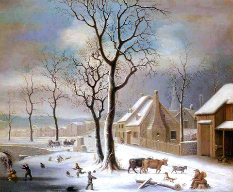 Robert Street Village in Winter - Hand Painted Oil Painting