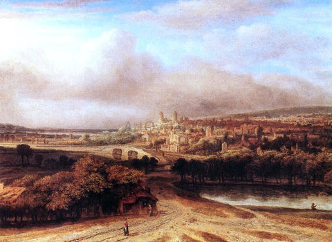Philips Koninck Village on a Hill - Hand Painted Oil Painting