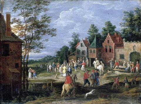 Pieter Gijsels Village Scene - Hand Painted Oil Painting