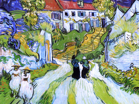 Vincent Van Gogh A Village Street and Steps in Auvers with Figures - Hand Painted Oil Painting