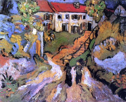 Vincent Van Gogh Village Street and Steps in Auvers with Two Figures - Hand Painted Oil Painting