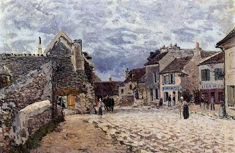 Alfred Sisley Village Street - Grey Weather - Hand Painted Oil Painting
