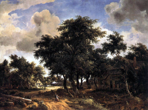 Meyndert Hobbema Village Street Under Trees - Hand Painted Oil Painting