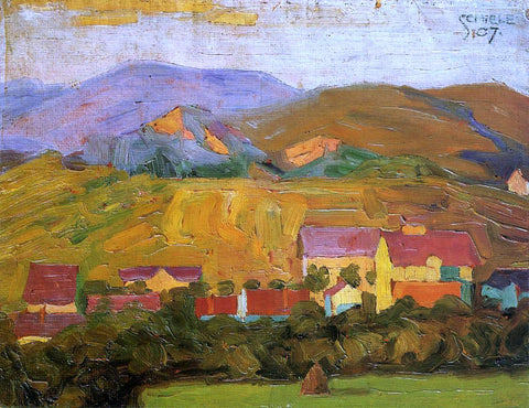 Egon Schiele Village with Mountains - Hand Painted Oil Painting